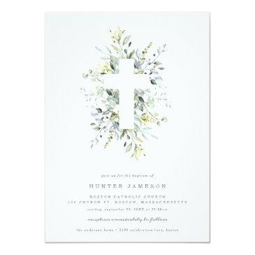 Small Dusty Blue Florals Baptism Invitation Front View