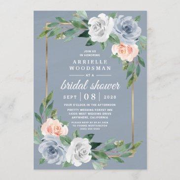 dusty blue gold blush pink peach bridal shower invitation