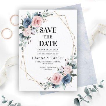 dusty blue mauve eucalyptus geometric wedding save the date