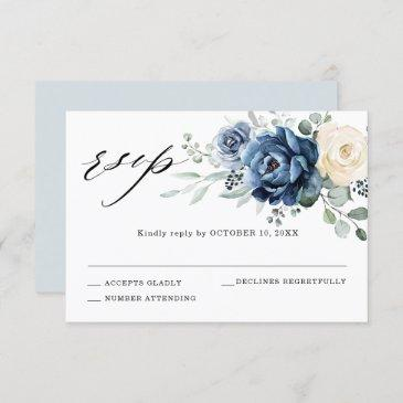 dusty blue navy champagne ivory floral wedding rsvp invitations