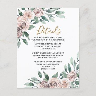 dusty rose pink mauve gold greenery floral wedding enclosure invitations