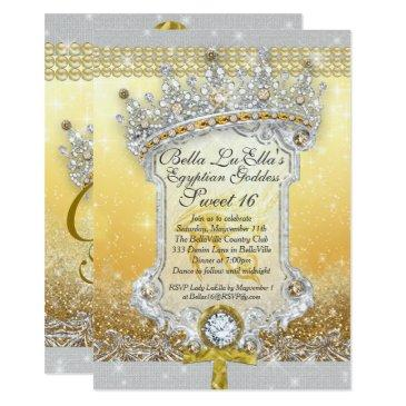 egyptian bling sweet 16 quince invitations