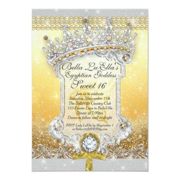 Small Egyptian Bling Sweet 16 Quince Invitations Front View