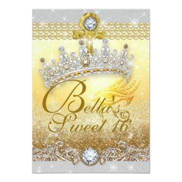 Small Egyptian Bling Sweet 16 Quince Invitations Back View