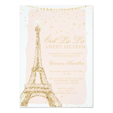 Small Eiffel Tower Chic Gold Glitter Pink Sweet 16 Invitation Front View