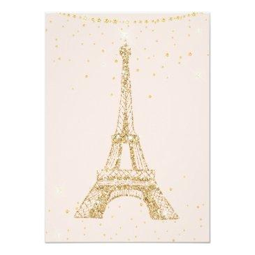Small Eiffel Tower Chic Gold Glitter Pink Sweet 16 Invitation Back View