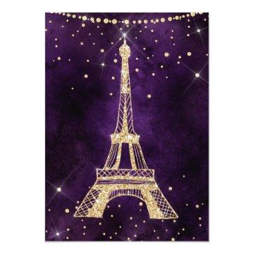 Small Eiffel Tower Chic Gold Glitter Purple Sweet 16 Invitation Back View