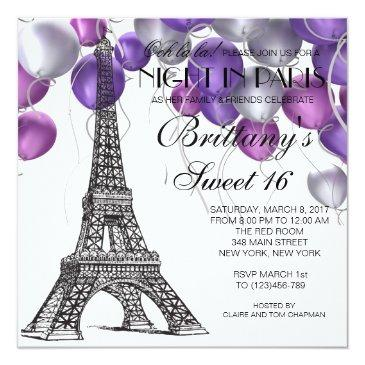 Small Eiffel Tower Paris Sweet 16 Invitation Front View