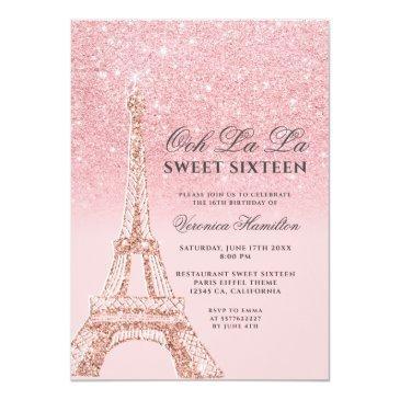 Small Eiffel Tower Pink Glitter Sparkles Chic Sweet 16 Invitation Front View