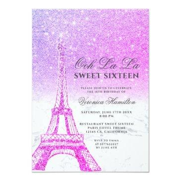 Small Eiffel Tower Pink Purple Glitter Marble Sweet 16 Invitation Front View