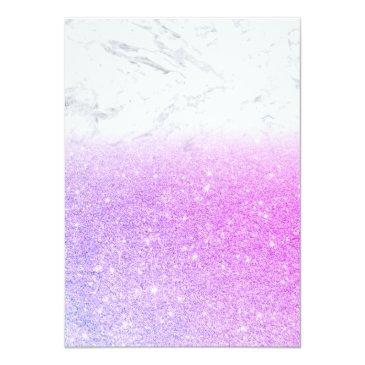 Small Eiffel Tower Pink Purple Glitter Marble Sweet 16 Invitation Back View