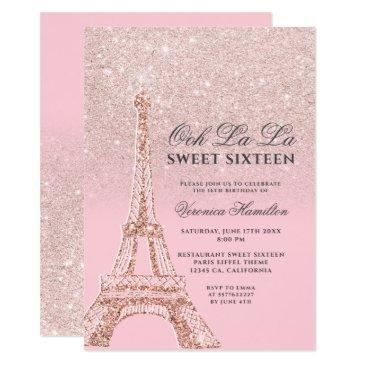 eiffel tower pink rose gold glitter sweet 16 invitation
