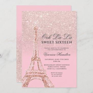 eiffel tower pink rose gold glitter sweet 16 invitation