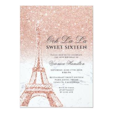 Small Eiffel Tower Rose Gold Glitter Marble Sweet 16 Invitation Front View