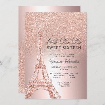 eiffel tower rose gold glitter metallic sweet 16 invitation