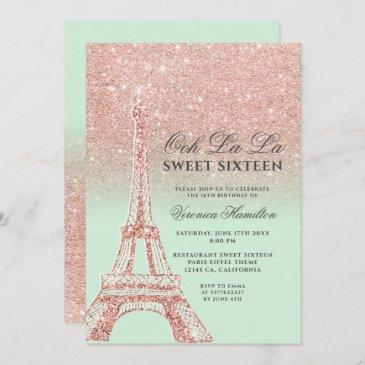eiffel tower rose gold glitter mint green sweet 16 invitation
