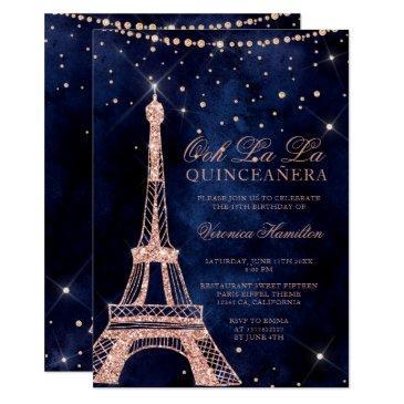 eiffel tower rose gold glitter sparkle quinceanera invitation