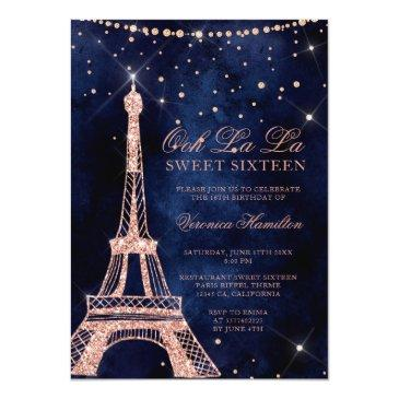 Small Eiffel Tower Rose Gold Glitter Sparkle Sweet 16 Invitation Front View
