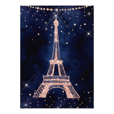 Small Eiffel Tower Rose Gold Glitter Sparkle Sweet 16 Invitation Back View