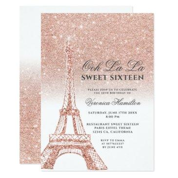 eiffel tower rose gold glitter white sweet 16 invitation
