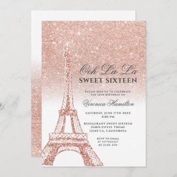 eiffel tower rose gold glitter white sweet 16 invitation