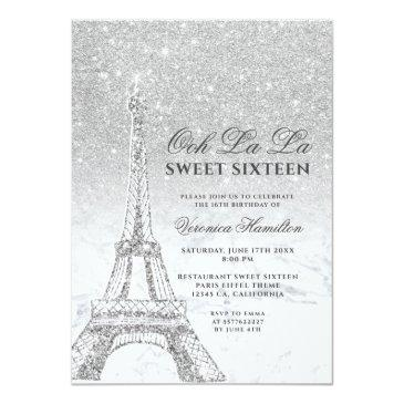 Small Eiffel Tower Silver Glitter Marble Sweet 16 Invitation Front View