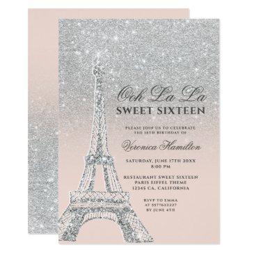 eiffel tower silver glitter pink sweet 16 invitation