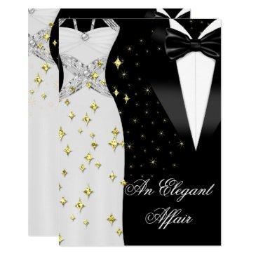elegant affair white dress black tie gold birthday invitation