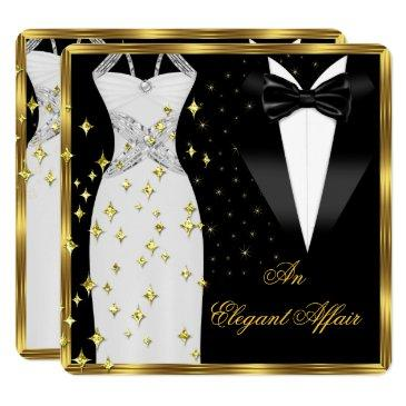 elegant affair white dress black tie gold birthday invitations