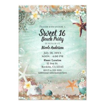 Small Elegant Beach Sea Starfish & Pearls Sweet 16 Party Invitations Front View