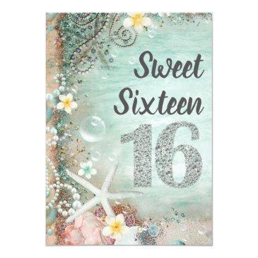Small Elegant Beach Sea Starfish & Pearls Sweet 16 Party Invitations Back View