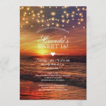 elegant beach string lights summer sweet sixteen invitation