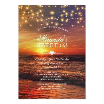 Small Elegant Beach String Lights Summer Sweet Sixteen Invitation Front View
