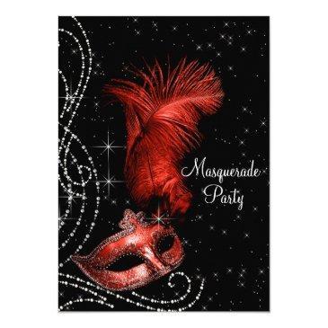 elegant black and red masquerade party invitations
