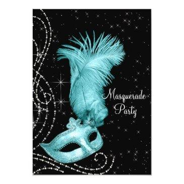 Small Elegant Black And Teal Blue Masquerade Party Front View