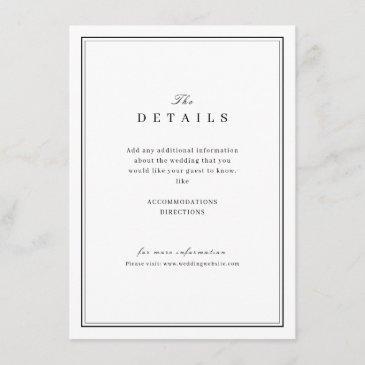 elegant black and white minimalist wedding details enclosure invitations