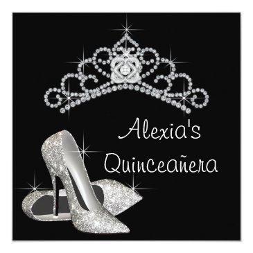 elegant black and white quinceanera