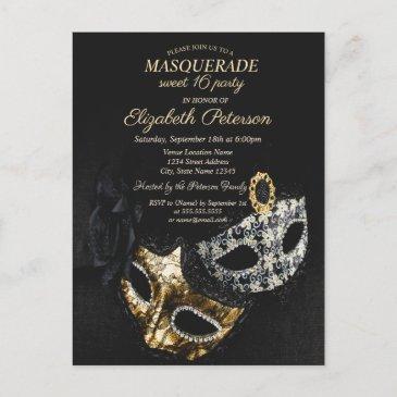 elegant black masquerade, masque sweet 16 invitation postinvitations