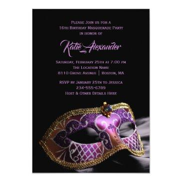 Small Elegant Black Purple Sweet 16 Masquerade Party Invitations Front View