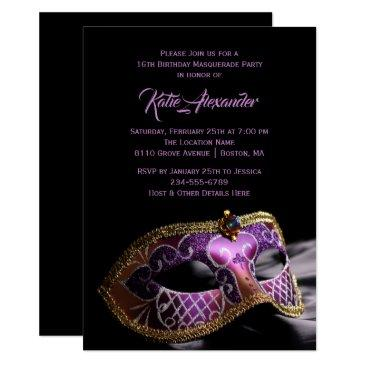 elegant black purple sweet 16 masquerade party invitations