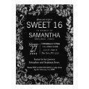elegant black silver floral glitter sweet 16 invitation