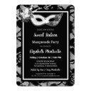 elegant black/white lace sweet 16 masquerade party invitation