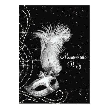 Small Elegant Black White Masquerade Party Invitations Front View