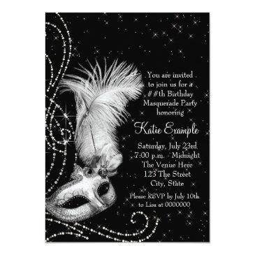 Small Elegant Black White Masquerade Party Invitations Back View