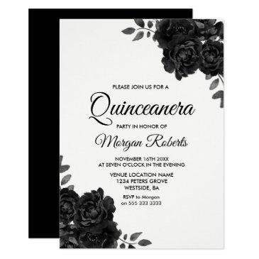 elegant black & white rose quinceanera invitations