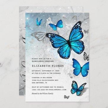 elegant blue butterfly cinderella quinceanera invitation