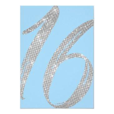 Small Elegant Blue Silver Sequin Glitter Sweet 16 Invitation Back View