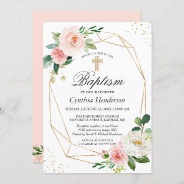 elegant blush pink floral baptism & christening invitation