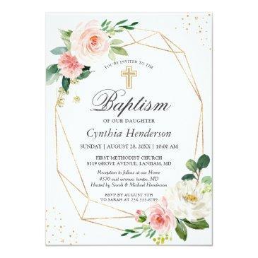 Small Elegant Blush Pink Floral Baptism & Christening Invitation Front View