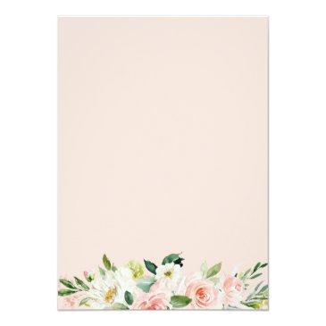 Small Elegant Blush Pink Floral Baptism & Christening Invitation Back View